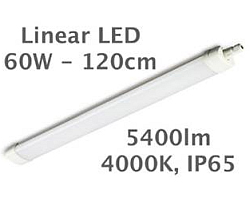 EcoVision LED Linijska Tri-Proof Cortez - 60W 5400lm, 4000K, 1200x82x48mm, IP65