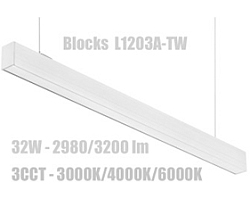 EcoVision LED Linijska Blocks  32W, 3CCT, 90°, L1130mm